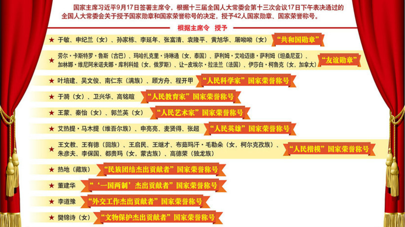 习近平签署主席令 授予42人国家勋章